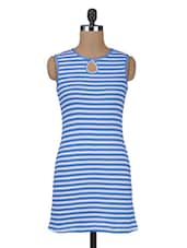 Blue Stripes Printed Viscose Knit Dress - By