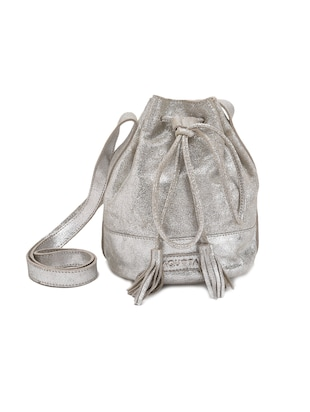 Silver leather drawstring sling bag -  online shopping for sling bags