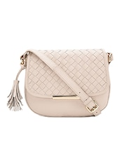 Cream textured leather sling bag -  online shopping for sling bags