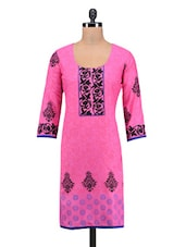 Scoop Neck Three Quarter Sleeve Cotton Kurta - By