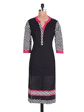 Black Cotton Printed Kurti - By