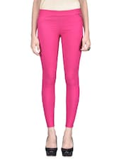Solid Pink Cotton Spandex Jeggings - By