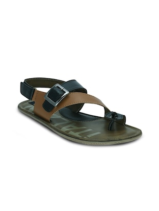 brown leatherette back strap sandal