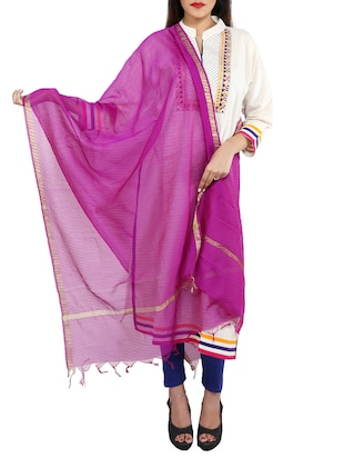 purple chanderi dupatta
