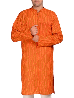 orange cotton printed kurta