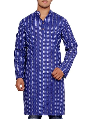 dark blue cotton printed kurta