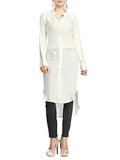 White Crepe Highlow Kurta - By
