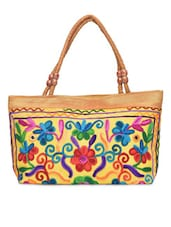 Yellow Embroidered Designer Hand Bag - By