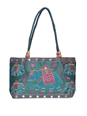 Green Embroidered Designer Hand Bag - By