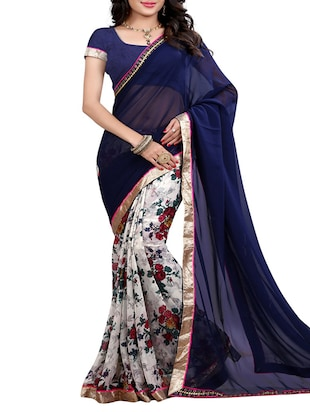 blue georgette saree -  online shopping for Sarees
