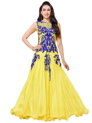 yellow net aline semistitched suit