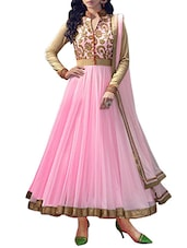 pink georgette aline semistitched suit -  online shopping for Semi-Stitched Suits