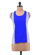 Blue Polycotton Sleeveless Top - By