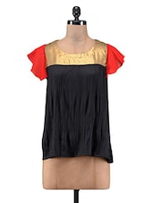 Black Polyester Sequined Top - By