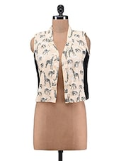 Beige Polycrepe Printed Shrug - By
