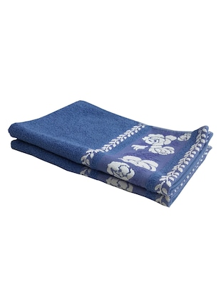 Lushomes Cotton Cobalt Blue Hand Towel with Jacquard Border (Pack of 2 pcs)