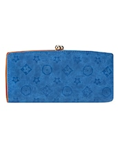 Blue Textured Leatherette Clutch - By