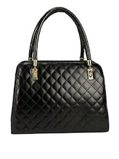 Quilted Black Leatherette Handbag - By