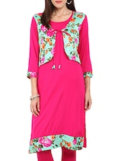 pink georgette floral printed straight kurta -  online shopping for kurtas
