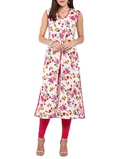 multi colored cotton floral printed high slit kurta -  online shopping for kurtas