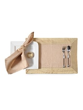 Beige Silk Set Of 4 Placemat, Napkin And Ring - By