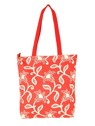 red printed canvas tote