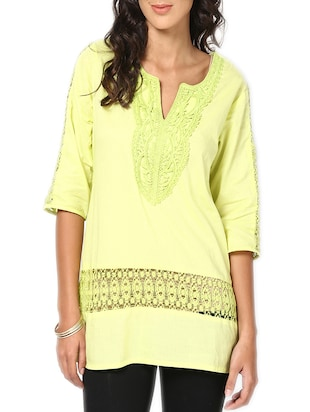 lemon green cotton regular top