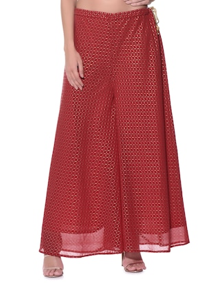 red georgette palazzos