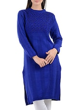solid blue woolen kurta -  online shopping for Woolen kurtas