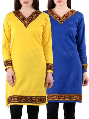 set of 2 multicolored woolen kurta