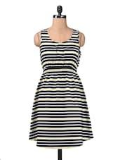 Green Polycrepe Stripe Print Dress - By