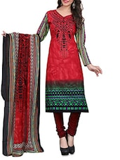 Red Embroidered  And Black Cotton Unstitched Suit Piece - By