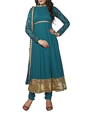 Teal Blue Full Sleeved Georgette Suit Set - By