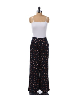 Navy Blue Pleated Palazzo Pants - NUN