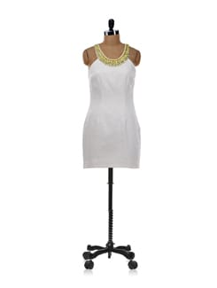 Porcelain Sheath Dress With Lemon Drop Beading - Forever  New