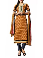 Yellow And Brown Printed Unstitched Suit Set - By