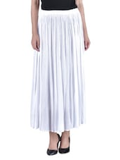 White Plain Cotton Crepe Skirt - By