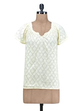 Yellow Plain Jacquard Cotton Top - By
