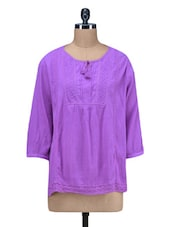 Purple Plain Pin Tucked Cotton Crepe Top - By