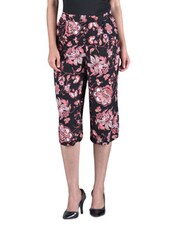 Pink Floral Printed Rayon Culottes - By