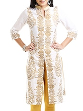 white cotton regular printed kurti -  online shopping for kurtis