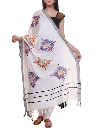 white printed woolen shawl