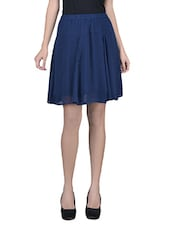 Blue Plain Poly Chiffon Skirt With Gathers And Elastic - By