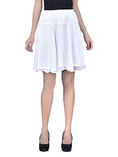 White Plain Poly Chiffon Skirt With Gathers And Elastic - By
