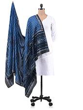 Blue Printed Cotton Dupatta - By