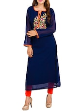 blue georgette embroidered long kurta -  online shopping for kurtas