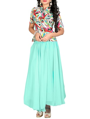 multicolored georgette top and skirt set