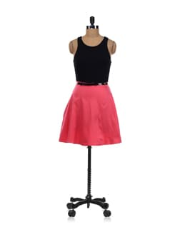 Black And Watermelon Flare Dress - Forever  New