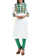 White Poly Crepe Aline Kurta - By