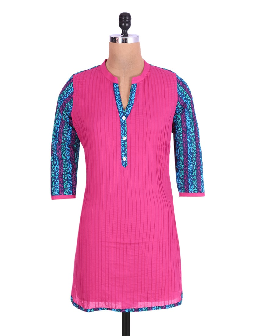 Pink And Blue Cotton Printed Kurta - By